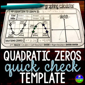 Quadratic Zeros Quick-Check Template