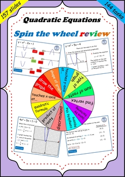 Quadratic equations and the parabola review - Spin the wheel game.