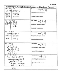 Quadratic equations group activity: factoring, completing the square and formula