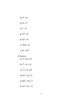 Quadratic factorisation