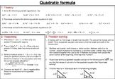 Quadratic formula - mastery worksheet