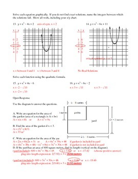 Quadratic function test graphing formula shifts etc With Answers