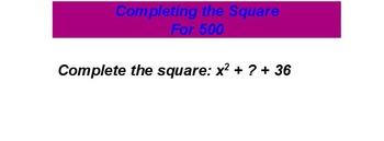 Quadratic jeopardy Review Promethean Flipchart