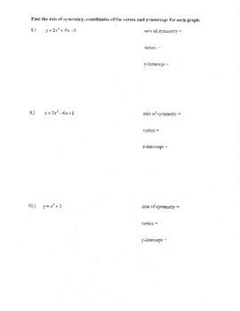 Quadratic standard form review a b c up down max min width vertex y-int AOS