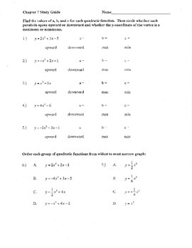 quadratic standard form review a b c up down max min width vertex y