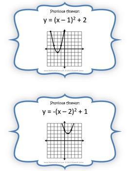 Quadratic/Parabola Function Graph Scavenger Hunt
