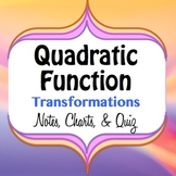 Quadratic/Parabola Function Graph Transformations - Notes, Charts, and Quiz