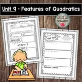 Algebra Interactive Notebook Unit 9 - Features of Quadratics