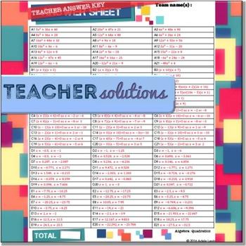 Quadratics (Algebra: TEAM CHALLENGE task cards)