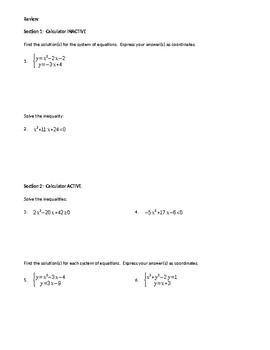 Quadratics Applications Review ws