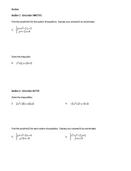 Quadratics Applications Review ws