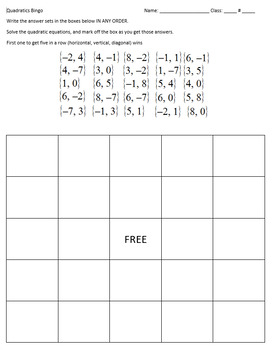 Quadratics Bingo Bundle