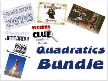 Quadratics Bundle of Notes, Games, Activities, and Worksheets