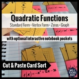 Quadratic Functions Card Sort