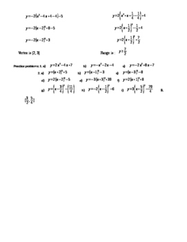 Quadratics: Changing (h,k) form to general and back