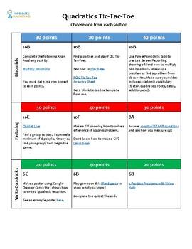 Quadratics Choiceboard