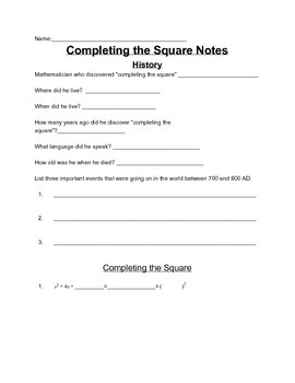 Quadratics Complete Chapter Including Activities, Guided Notes and Assessments