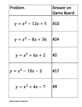 Quadratics: Completing the Square Matho Game