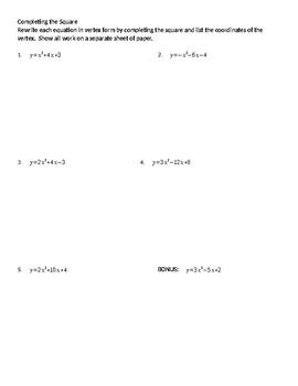 Quadratics Completing the Square WS