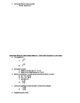 Quadratics Comprehension Test