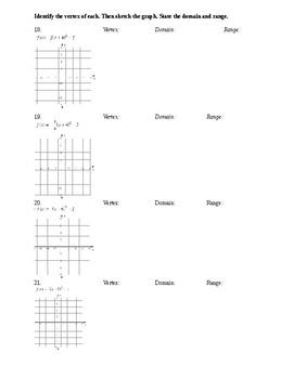 Quadratics Cumulative Review Worksheets