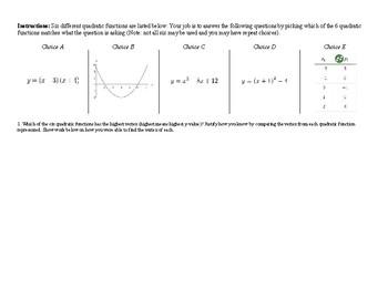 Quadratic Functions: Depth of Knowledge Comparison Homework