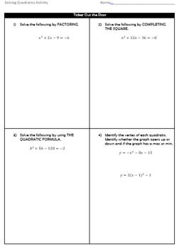 Quadratics Differentiation Station Activity