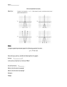 Quadratics Equations Discovery Activity