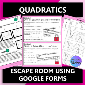 Quadratics Escape Room using Google Forms by Absolute ...