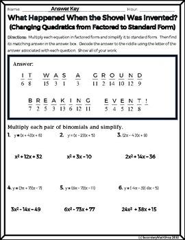 Quadratics: Factored Form to Standard Form Practice Riddle Worksheet