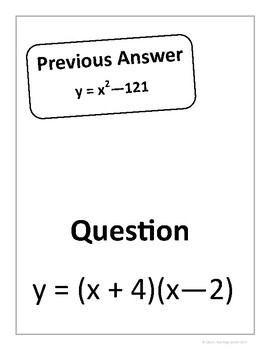 Quadratics - Factored to Standard Form Scavenger Hunt