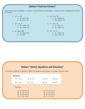 Quadratic Stations: Factors and Roots