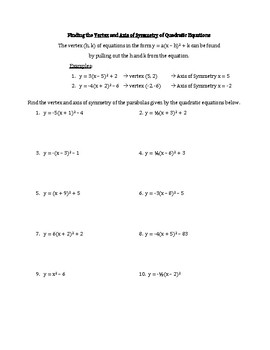 Quadratics: Finding Vertex and Axis of Symmetry