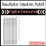 Quadratics - Finding the Vertex Matching Activity Digital
