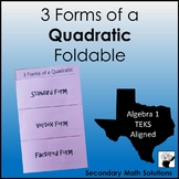Quadratic Equations Foldable (3 Forms) (A7B)