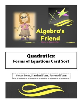 Quadratics: Forms of Equations Card Sort