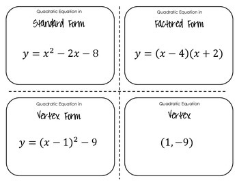 Quadratics Functions Cards Sort