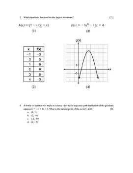 Quadratics Functions Test