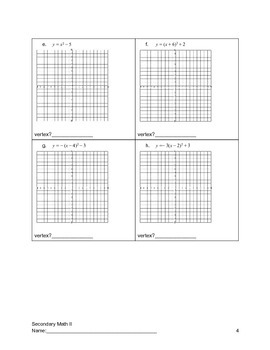 Quadratics Graphing and Key Information About Quadratics Guided Notes