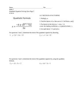 Quadratics Homework Assignments and Quiz