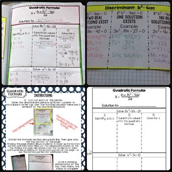 Quadratics Interactive Notebook Pages