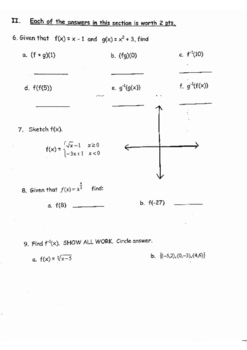 Precalculus: Review of Quadratics, Inverses, Composition, Functions and Algebra