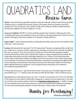 Solving Quadratic Equations Review Game: Quadratics Land