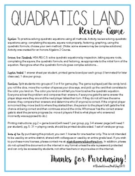 Solving Quadratic Equations Review Game: Quadratics Land