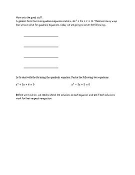 Quadratics Lesson