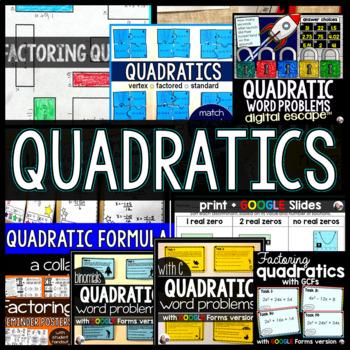 Quadratic Functions Activity Bundle