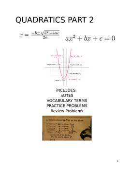 Quadratics Notes/Practice Packet