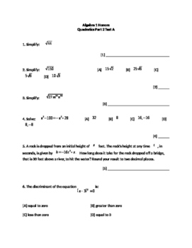 Quadratics Part 2 Test A
