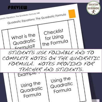 Quadratic Formula Notes and Practice for Interactive Notebooks (for Quadratics)