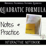 Quadratic Formula Notes and Practice for Interactive Notebooks